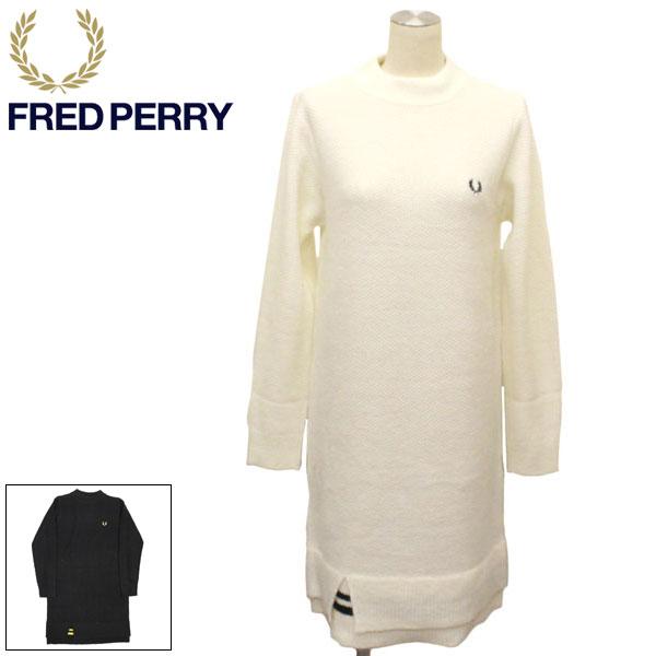 正規取扱店 FRED PERRY (フレッドペリー) F8523 CREW NECK KNITTED DRESS ニットドレス レディース 全2色 FP360
