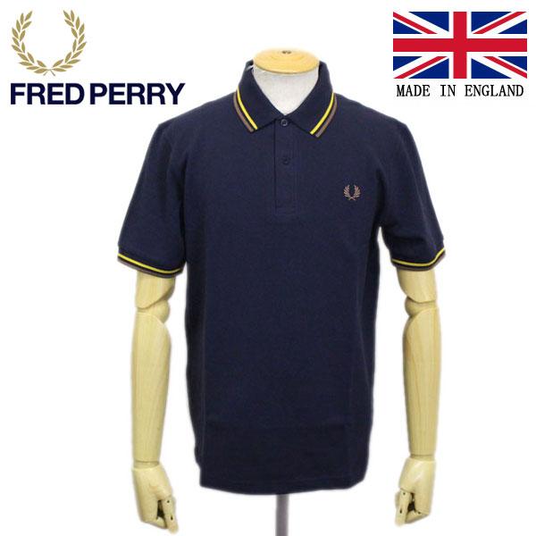 正規取扱店 FRED PERRY (フレッドペリー) M12N THE ORIGINAL TWIN TIPPED FP SHIRT ライン入りポロシャツ イングランド製 637-NAVY/MAIZE/1964 MINK FP338
