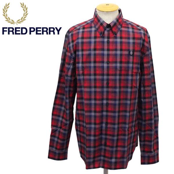 正規取扱店 FRED PERRY (フレッドペリー) M8586 5 COLOUR GINGHAM SHIRT 5カラー ギンガムシャツ 943 RED FP378