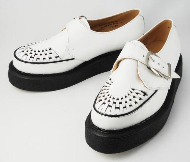 Postage, collect on delivery fee free of charge authorized agent George Cox( George coxswain) rubber sole ALASKA VI I/L MONK Alaska Monk WHITE LEATHER white leather fs3gm