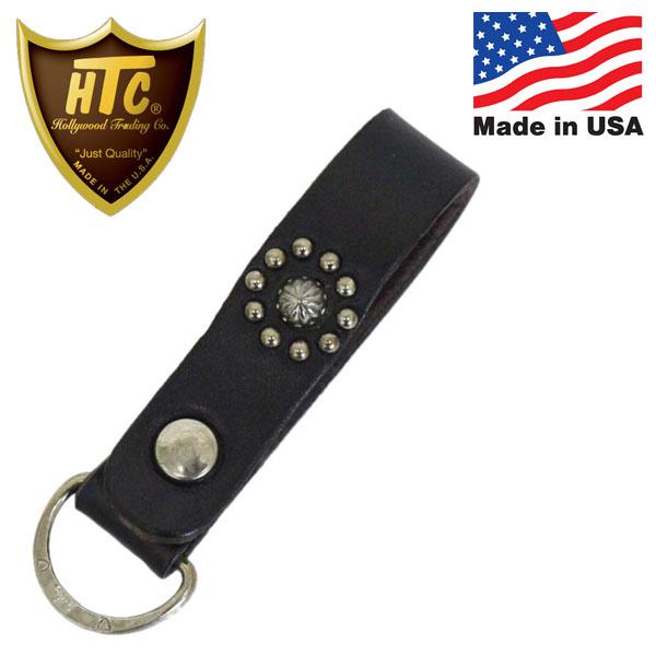 正規取扱店 HTC (Hollywood Trading Company) #FLOWER UMBRELLA D-Ring Key Holder フラワーアンブレラ D-リング キーホルダー ブラックレザー x シルバースタッズ