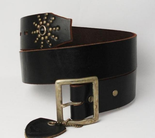 Shipping & cash on delivery fee free regular handling shop HTC (Hollywood Trading Company) END ONLY BELT (エンドオンリー belts) black leather x Blackstone fs3gm