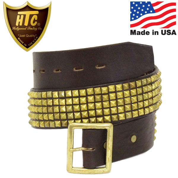 正規取扱店 HTC(Hollywood Trading Company) #14 5 row Pyramid Brass Studs Belt(5連ピラミッドゴールドスタッズベルト) ダークブラウンxブラススタッズ