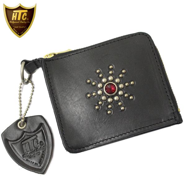 正規取扱店 HTC(Hollywood Trading Company) #STARBURST(スターバースト) TYPE 5 CARD CASE(カードケース) ブラックレザーxルビーストーン