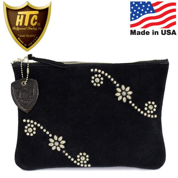 正規取扱店 HTC(Hollywood Trading Company) #25 Umbrella Suede Clutch Bag Medium クラッチバッグ ブラックレザーxシルバースタッズ