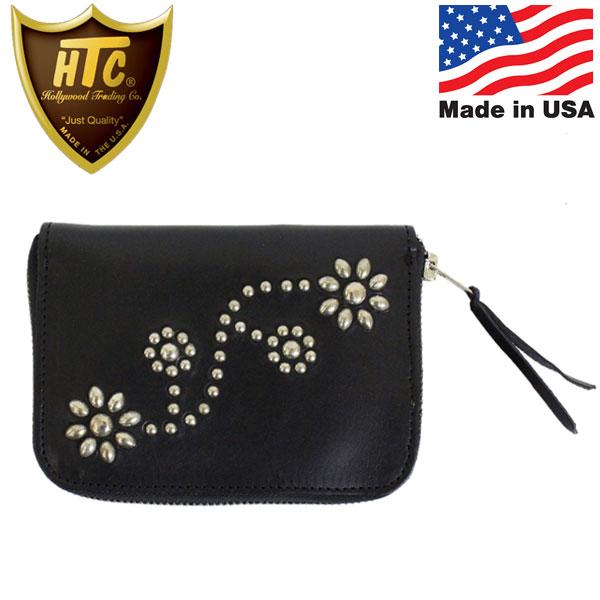 正規取扱店 HTC(Hollywood Trading Company) T-2 Zipper Wallet #24 ジッパーミディアムウォレット ブラックレザーxシルバースタッズ