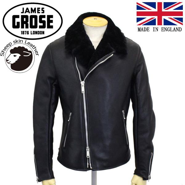 正規取扱店 JAMES GROSE (ジェームスグロース) G71-12 MEN'S SHEARLING DOUBLE JACKET メンズ シアリング ダブルジャケット Sheep leather Nappa Finish BLACK JG023