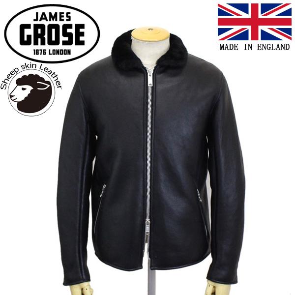 正規取扱店 JAMES GROSE (ジェームスグロース) G73-12 MEN'S SHEARLING SINGLE JACKET メンズ シアリング シングルジャケット Sheep leather Nappa Finish BLACK JG024