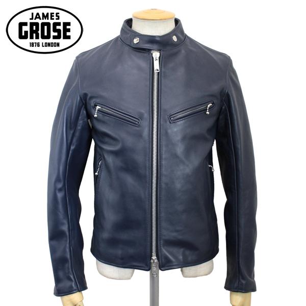 正規取扱店 JAMES GROSE (ジェームスグロース) G01-56 MEN'S CLUBMAN CHL JACKET(メンズ クラブマン カウハイドレザージャケット) NAVY JG008
