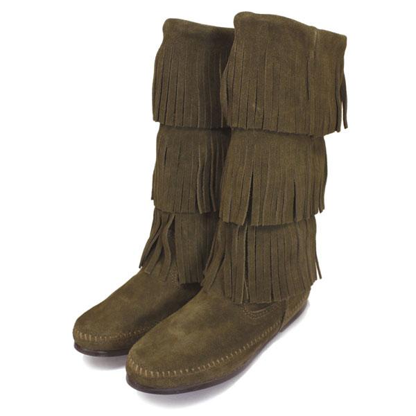正規取扱店 MINNETONKA(ミネトンカ) 3Layer Fringe Boot(3レイヤーフリンジブーツ) #1635F LODEN レディース MT358