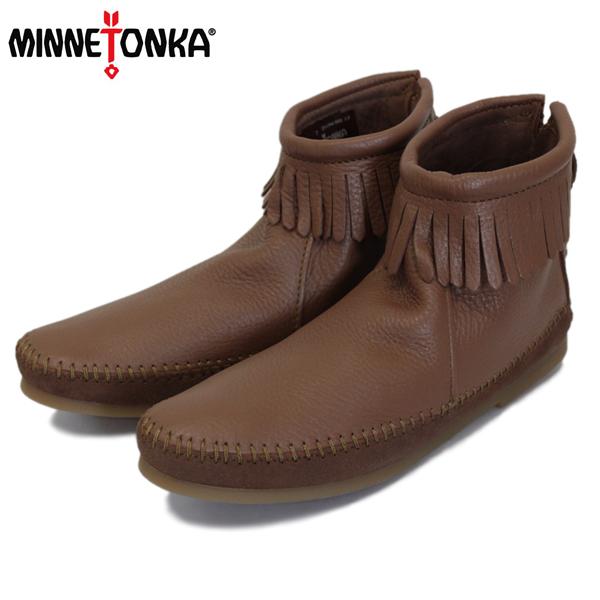 正規取扱店 MINNETONKA(ミネトンカ) 1975 Deerskin Back Zip Boot(ディアスキンバックジップブーツ) #288X CARAMEL レディース MT414