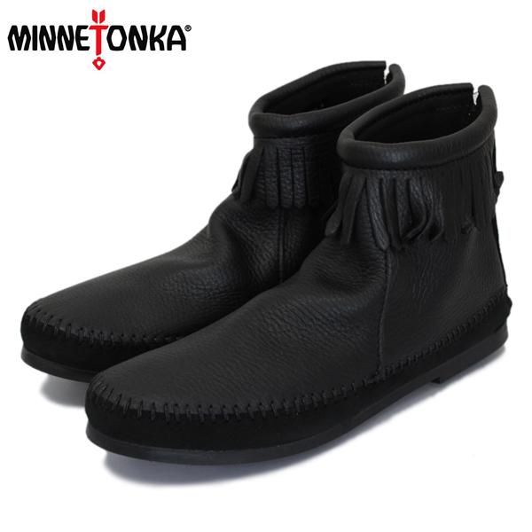 正規取扱店 MINNETONKA(ミネトンカ) 1975 Deerskin Back Zip Boot(ディアスキンバックジップブーツ) #289X BLACK レディース MT415