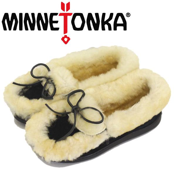 正規取扱店 MINNETONKA (ミネトンカ) 3400S ULUTIMATE SHEEPSKIN SLIPPER アルティメット シープスキン スリッパ Black MT451