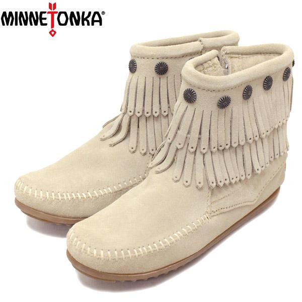 正規取扱店 MINNETONKA(ミネトンカ) Double Fringe Side Zip Boot(ダブルフリンジサイドジップブーツ) #696 Stone Suede レディース MT431