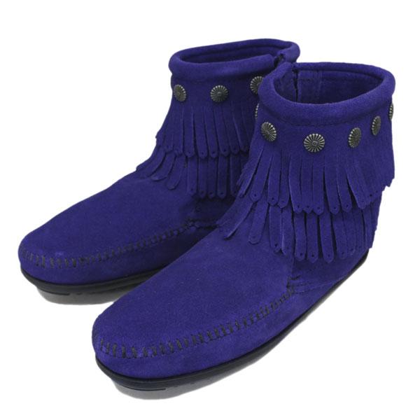 正規取扱店 MINNETONKA(ミネトンカ) Double Fringe Side Zip Boot(ダブルフリンジサイドジップブーツ) #699F BLUE VIOLET レディース MT357