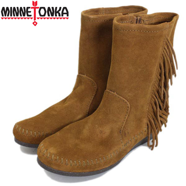 sale セール 正規取扱店 MINNETONKA(ミネトンカ) Side Fringe Wedge Boot(サイドフリンジウェッジブーツ) #1372 BROWN レディース MT331