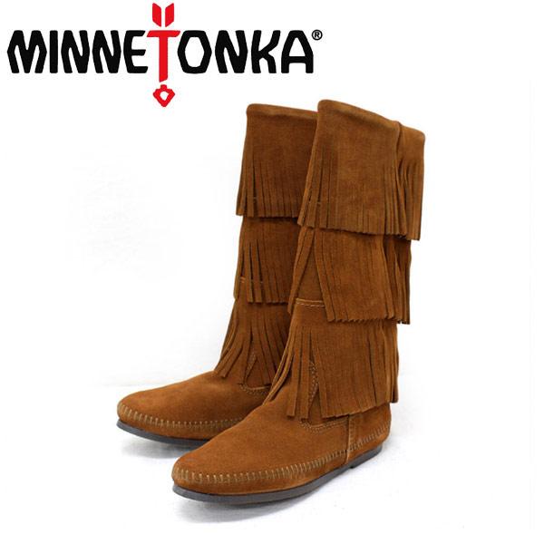 sale セール 正規取扱店 MINNETONKA(ミネトンカ)Calf Hi 3-Layer Fringe Boot(カーフハイ3レイヤーフリンジブーツ)#1632 BROWN レディース MT053