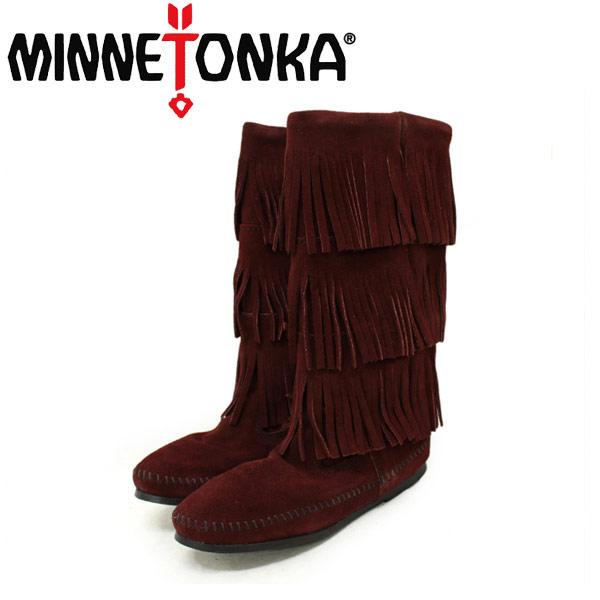 正規取扱店 MINNETONKA(ミネトンカ)Calf Hi 3-Layer Fringe Boot(カーフハイ3レイヤーフリンジブーツ)#1638F WINE レディース MT086