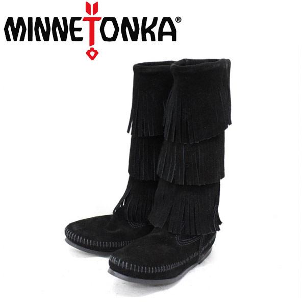 sale セール 正規取扱店 MINNETONKA(ミネトンカ)Calf Hi 3-Layer Fringe Boot(カーフハイ3レイヤーフリンジブーツ)#1639 BLACK レディース MT055