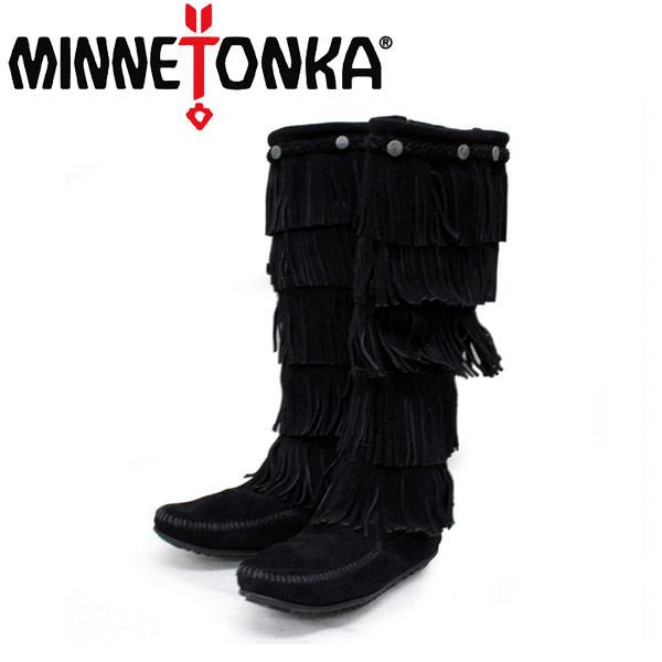 sale セール 正規取扱店 MINNETONKA(ミネトンカ)5-Layer Fringe Boot(5レイヤーフリンジブーツ)#1659 BLACK レディース MT058