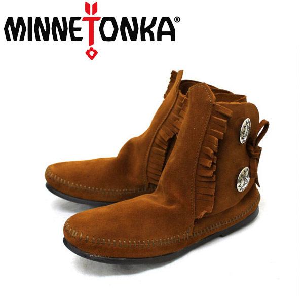 正規取扱店 MINNETONKA(ミネトンカ)Two Button Boot Hard Sole(トゥーボタンブーツハードソール)#442 BROWN レディース MT093