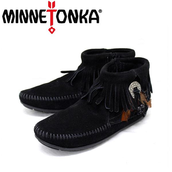 正規取扱店 MINNETONKA(ミネトンカ) Concho Feather Side Zip Boot(コンチョフェザーサイドジップブーツ)#520 BLACK レディースMT045
