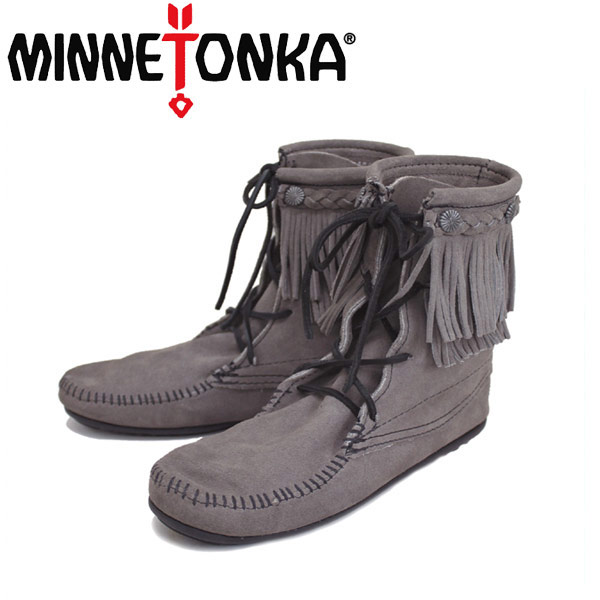 sale セール 正規取扱店 MINNETONKA(ミネトンカ)Double FringeTramper Boot(ダブルフリンジ トランパーブーツ)#621T GREY レディース MT021