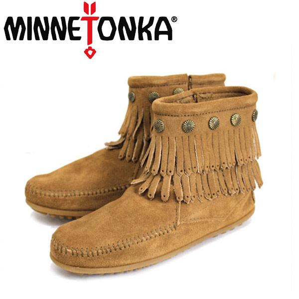 sale セール 正規取扱店 MINNETONKA(ミネトンカ)Double Fringe Side Zip Boot(ダブルフリンジ サイドジップブーツ)#697T TAUPE レディース MT018