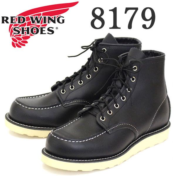 正規取扱店 Red Wing(レッドウィング レッドウイング) 8179 6inch CLASSIC MOC TOE(クラシックモックトゥ) ブーツ Traction Tred Sole BLACK CHROME LEATHER