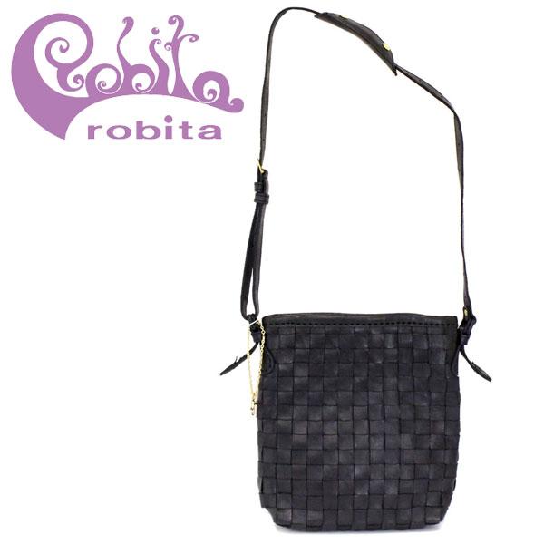 正規取扱店 robita(ロビタ) AN 219 アンティークメッシュレザー ショルダーバッグ ブラック RBT037