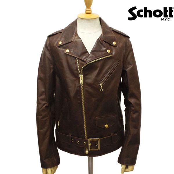 sale セール 正規取扱店 SCHOTT(ショット) 619 RIDERS JACKET(ライダースジャケット) BROWN