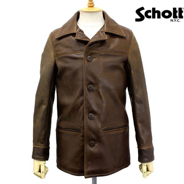 正規取扱店 SCHOTT(ショット) 533US LEATHER CAR COAT(レザーカーコート) BROWN