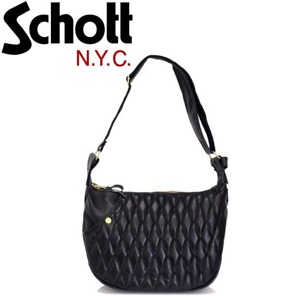 正規取扱店 Schott (ショット) 3109022 PADDED BANANA BAG パデッドバナナ レザーショルダーバッグ 08-BLACK/GOLD