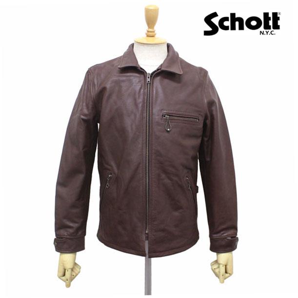 スーパーセール正規取扱店 SCHOTT(ショット) CLASSIC TRACK JACKET(クラシックトラックジャケット) BROWN ブラウン
