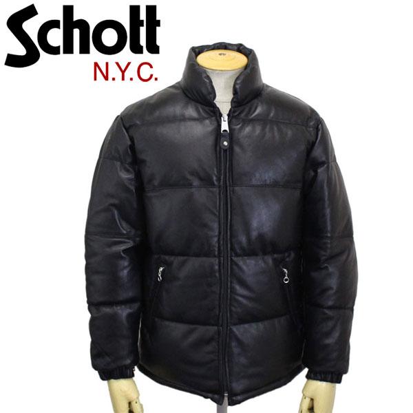正規取扱店 Schott (ショット) 3181061 LEATHER DOWN JKT レザーダウンジャケット BLACK