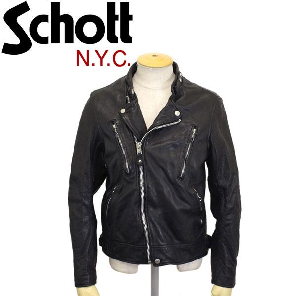 正規取扱店 Schott(ショット) 3181067 DOUBLE BREST RIDERS JACKET ダブルブレストライダースジャケット SHEEP VEGITABLE BLACK