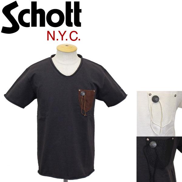 正規取扱店 Schott (ショット) 3183002 NATIVE LEATHER POCKET ネイティブ レザーポケット Tシャツ 全3色