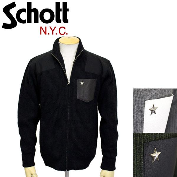 sale セール 正規取扱店 Schott (ショット) 3184008 SCH-LEATHER POCKET COMMAND SWEATER FULL ZIP レザーポケットコマンドセーター フルジップ 全3色
