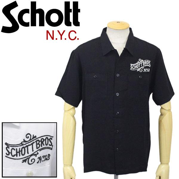 正規取扱店 Schott (ショット) 3185001 OPEN COLLAR SHIRT No.13 オープンカラーシャツ 全2色