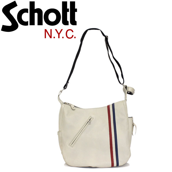 正規取扱店 Schott (ショット) 3189017 CLASSIC RACER SHOULDER BAG クラシック レーサー レザーショルダーバッグ 99-トリコロール(ホワイト)