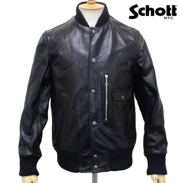 正規取扱店 SCHOTT(ショット) 667US D-POCKET VARSITY LEATHER JACKET(D-ポケットヴァーシティレザージャケット) BLACK ブラック