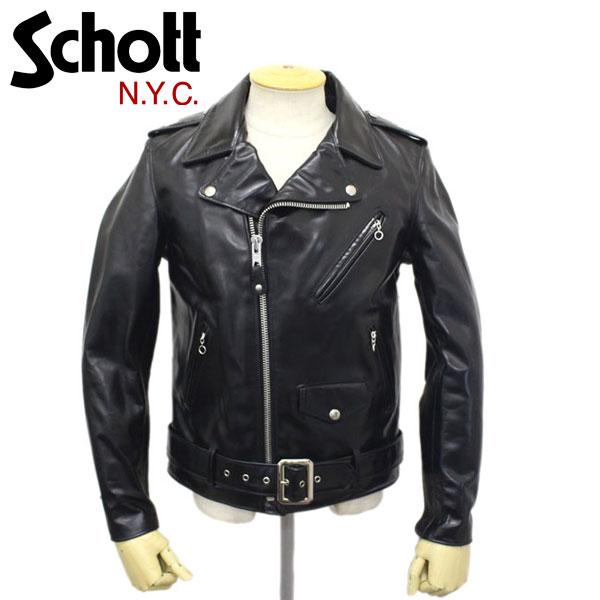 正規取扱店 Schott (ショット) 613UHT HORSE HIDE ONESTAR TALL (ホースハイドワンスタートール) ライダースジャケット BLACK