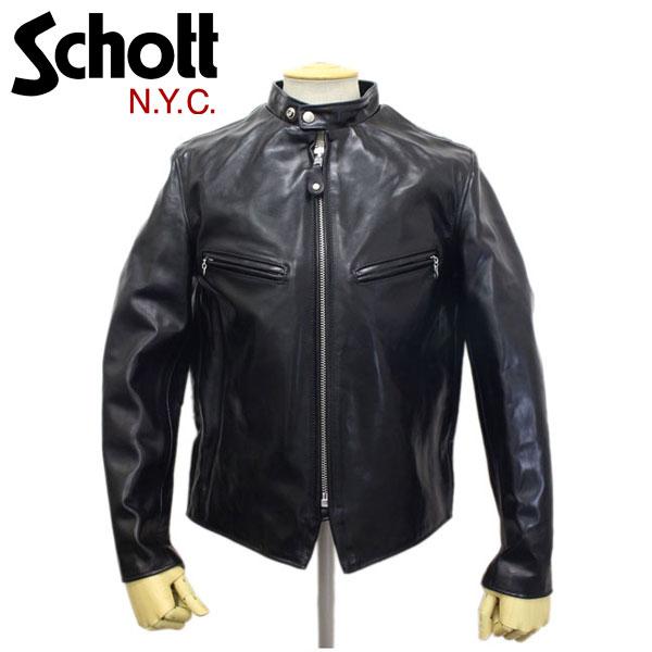正規取扱店 Schott (ショット) 641XX HORSE HIDE CAFE RACER (ホースハイドカフェレーサー) ライダースジャケット BLACK