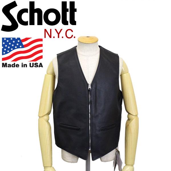 正規取扱店 Schott (ショット) 693V Zip Front MC Vest ジップフロント モーターサイクル レザーベスト アメリカ製 09-ブラック