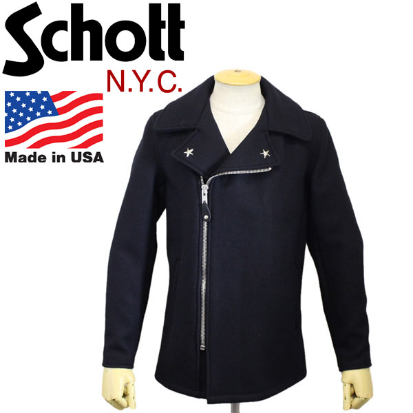 正規取扱店 Schott (ショット) 779 WOOL PEA COAT FRONT ZIP (ウールピーコート フロントジップ) 087-NAVY