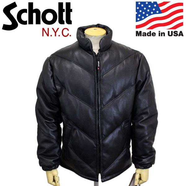 正規取扱店 Schott (ショット) 7552 245D LEATHER DOWN JKT BIAS QUILT レザー ダウンジャケット バイアスキルト 09BLACK