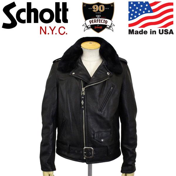 正規取扱店 Schott (ショット) 7565 PER90 ANNIVERSARY PERFECTO JKT パーフェクト90周年 限定モデル レザージャケット 09BLACK