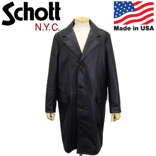 正規取扱店 Schott (ショット) No.7582 568US LEATHER CHESTER LONG COAT レザー チェスター ロングコート アメリカ製 09BLACK