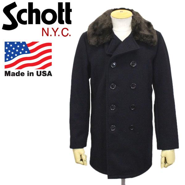 正規取扱店 Schott (ショット) No.7586 792US Double Brest Boa Coller Coat ダブルブレスト ボアカラー コート 87NAVY