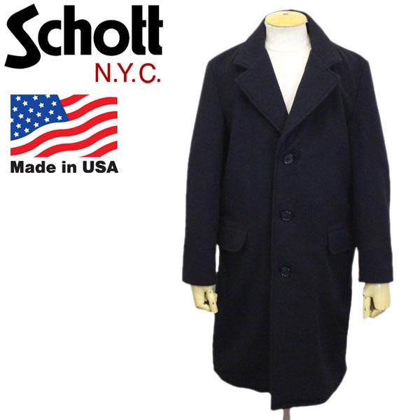 正規取扱店 Schott (ショット) No.7589 Soft Melton Chester Long Coat ソフトメルトン チェスター ロングコート 87NAVY